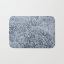 Snowy Pine Forest - Hallstatt, Austria Bath Mat