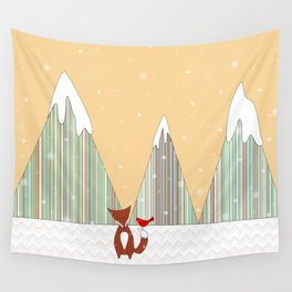 Winter in the Air, Woodland Animals Landscape, Itaya Wall Tapestry