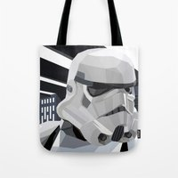storm Tote Bags featuring Stormtrooper by Liam Brazier