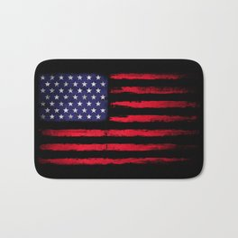 Vintage American flag on black Bath Mat