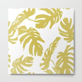 Simply Mod Yellow Palm Leaves Metal Print
