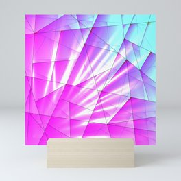 Bright sky fragments of crystals on irregularly shaped purple and blue triangles. Mini Art Print