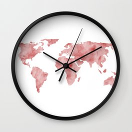 World Map Light Red Watercolor Wall Clock