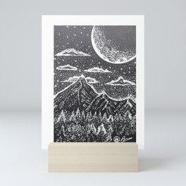 """Supermoon"" Hand-Drawn by Dark Mountain Arts Mini Art Print"
