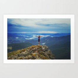 Young woman  on a stone   with raised hands,Carpathian ,Ukraine Art Print