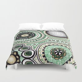 Green and Gold Rings Duvet Cover