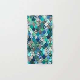 Mermaid Pattern, Sea,Teal, Mint, Aqua, Blue Hand & Bath Towel