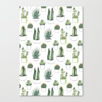 shower Canvas Prints featuring watercolour cacti and succulent by Vicky Webb