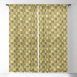 Yellow and black mosaic pattern Sheer Curtain