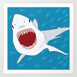 Shark Attack Underwater With Fish Swimming In The Background Art Print
