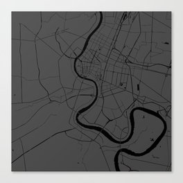 Bangkok Thailand Minimal Street Map - Gray and Black Canvas Print