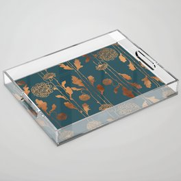 Art Deco Copper Flowers  Acrylic Tray