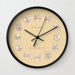 Endangered Love - Sloth Sutra Wall Clock