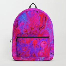 Ebb and Flow Neon Pink Abstract Marble Pour Painting Backpack