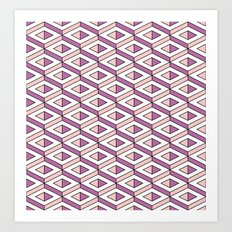 3D geometric pattern in rose quartz and bodacious colours Art Print