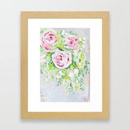 Pink rose floral bouquet Framed Art Print