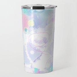 Peinture digitale tons pastels fleurs nuages bulles rose vert bleu jaune blanc Travel Mug