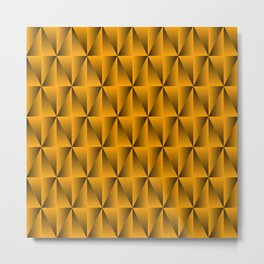 A chaotic grid of raised rhombuses with intersecting yellow northern lines and squares. Metal Print