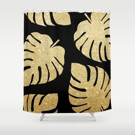 Gold Glitter Monstera Leaves Pattern Shower Curtain