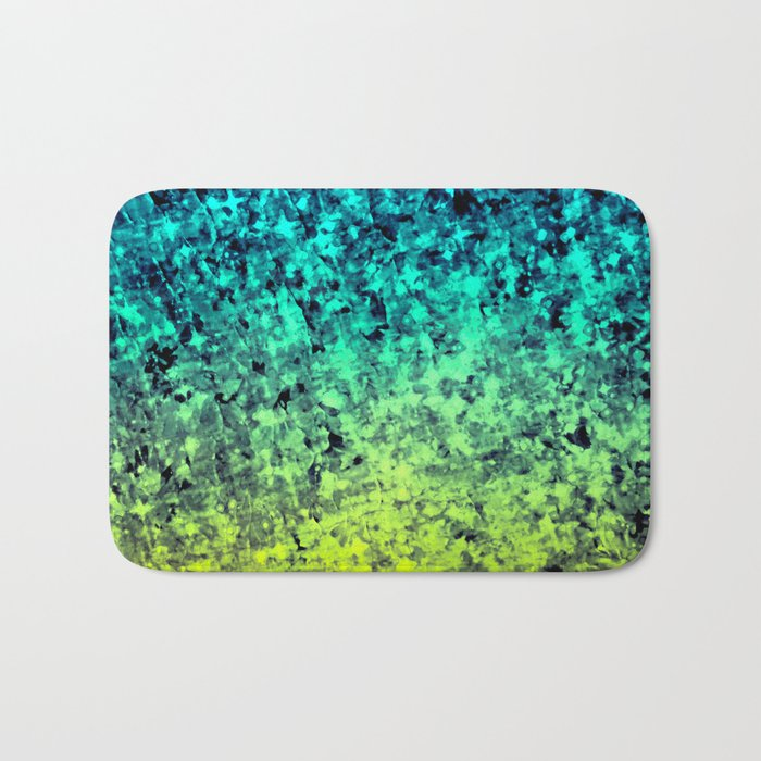 OMBRE LOVE Bold Beautiful Starry Night Glitter Abstract Painting Midnight Blue Mint Turquoise Yellow Bath Mat