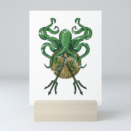Octopus Fighing With A Trident Mini Art Print