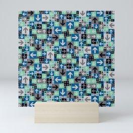 Arrow Pattern Blue Green Gray Mini Art Print