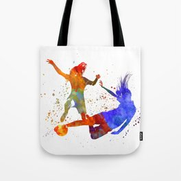 Women soccer players 02 in watercolor Tote Bag