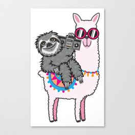 Sloth Music Llama Canvas Print