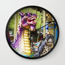 Carousel Dragon and Seal on a Merry-go-round Wall Clock