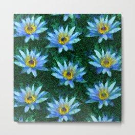 Water Lily Van Gogh style green Metal Print