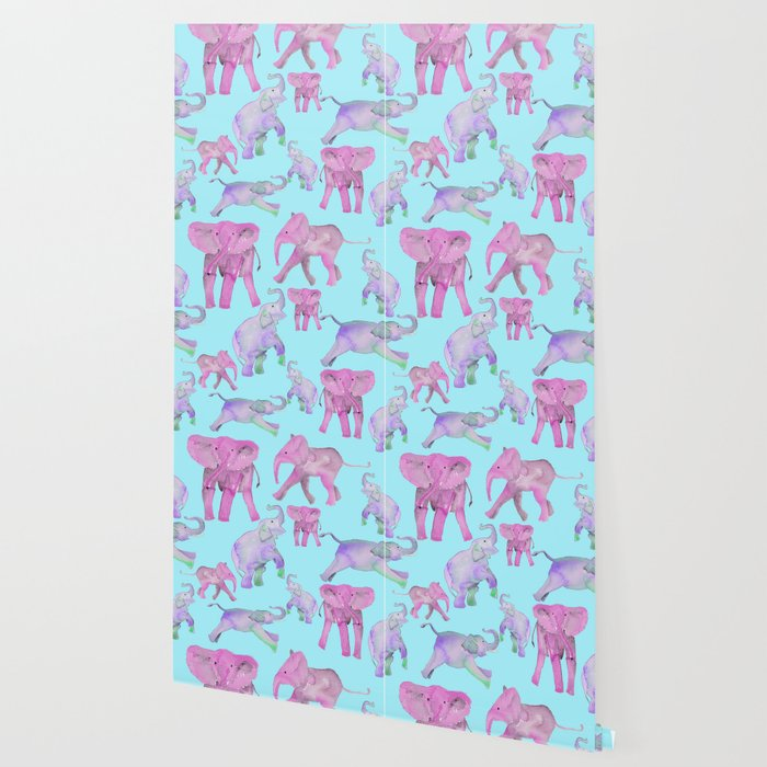 Pink and Lavender Elephants Wallpaper