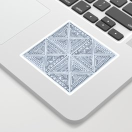 Simply Tribal Tile in Indigo Blue on Sky Blue Sticker