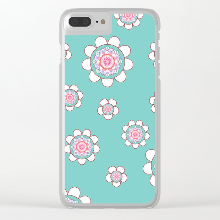 Mandala Flowers Pattern Blue Pink Clear iPhone Case