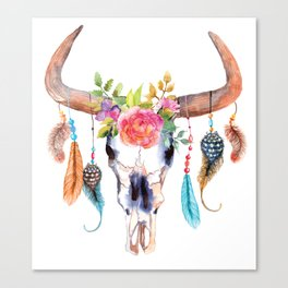 Bohemian watercolour skull - feathers and flowers Canvas Print