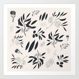Folkloric Plant Pattern Art Print