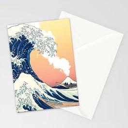 Great Wave Off Kanagawa Mount Fuji Eruption Gradient Orange and Yellow Stationery Cards