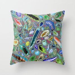 Feathers of birds of the world Throw Pillow