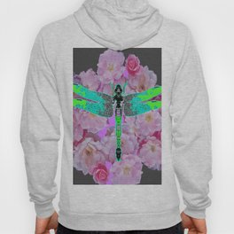 GREY COLOR EMERALD DRAGONFLY PINK ROSES Hoody