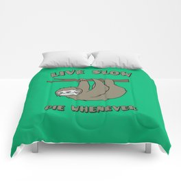 Funny & Cute Sloth 'Live Slow Die Whenever' Cool Statement / Lazy Motto / Slogan Comforters
