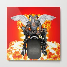Biker of the Apocalypse-Conquest Metal Print