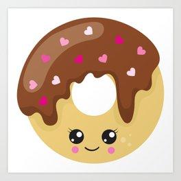 Kawaii Donut, Donut With Hearts, Chocolate Donut Art Print