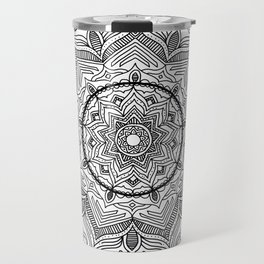 Black Flower Mandala Travel Mug