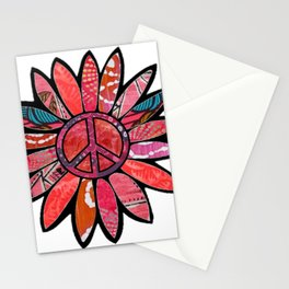 Pink Bliss Peace Flower Stationery Cards
