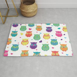 Rainbow Owl Cuties Rug