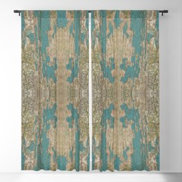 Rustic Wood - Weathered Wooden Plank - Beautiful knotty wood weathered turquoise paint Blackout Curtain