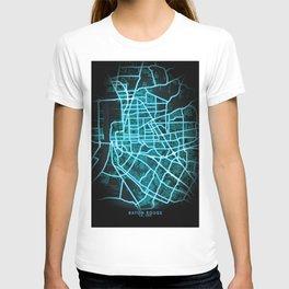 Baton Rouge, LA, USA, Blue, White, Neon, Glow, City, Map T-shirt