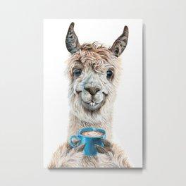 Llama Latte Metal Print