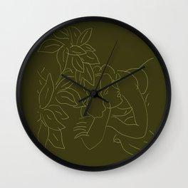 Matisse Line Art #5 Green Wall Clock