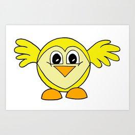 Funny drawn bird Art Print