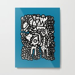 Black and White  Graffiti Cool Monsters on Blue background Metal Print